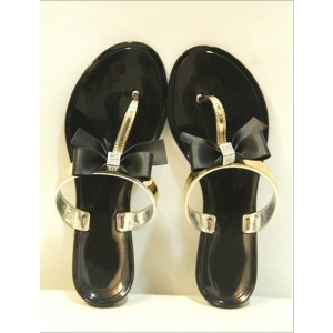 Black and Gold Summer Sandals Comfortable Beach Shoes with Bow