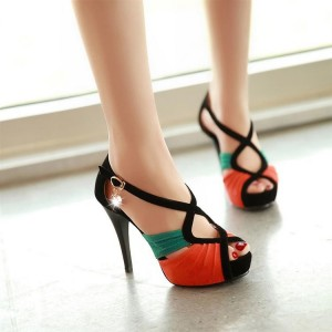 Orange and Green Stitching Color Stiletto Heels Ankle Strap Sandals