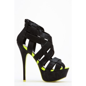 Women's Black and Lime Green Platform Sandals Hollow-out High Heels