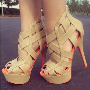 Women's Nude Hollow Out Peep Toe Stiletto Heel Platform Sandals