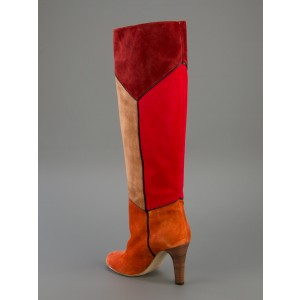 Women's Multi-color Chunky Heel Boots Round Toe Suede Knee-high Boots