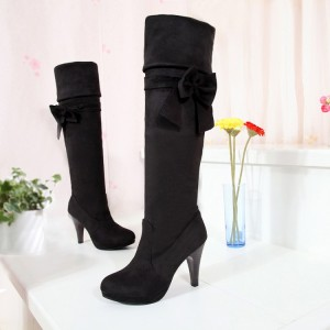 Black Suede Boots Chunky Heel Platform Fold-Over Knee Boots with Bow