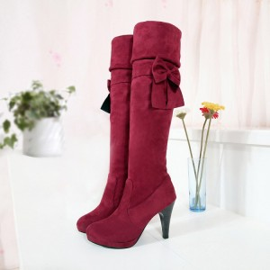 Red Suede Boots Chunky Heel Platform Fold-Over Knee Boots with Bow