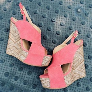 Pink Suede Crisscross Strap Heeled Wedges Peep Toe Slingback Sandals