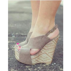 Women's Grey Wedge Sandals Slingback Peep Toe Platform Heels Sandals