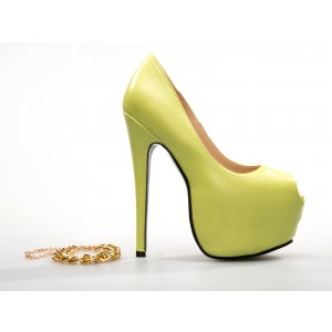 Women's Yellow Metal Chains Ankle Strap Stiletto Heel Pumps Shoes