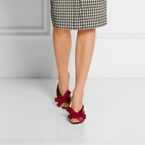 Burgundy Peep Toe Heels Mule Sandals with Bow