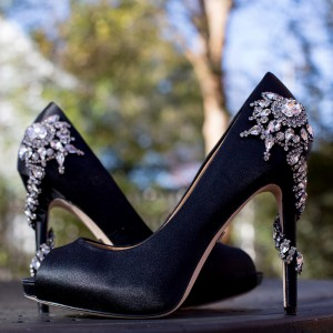 Women's Black Crystal Snowflake Decorated Peep Toe Stiletto Heel Pumps