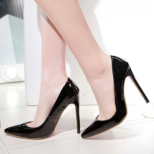 Women's Black Office Heels Low-cut Pointed Toe Stiletto Heel Pumps