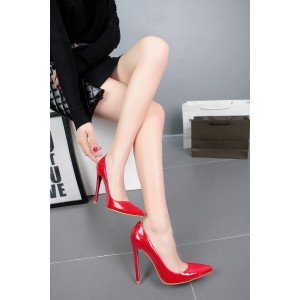 Coral Red Commuting Low-cut Pointed Toe Stiletto Heel  Pumps