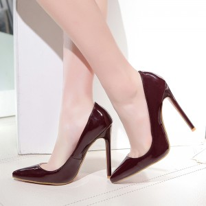 Burgundy Office Heels Pointy Toe Stiletto Heels Pumps
