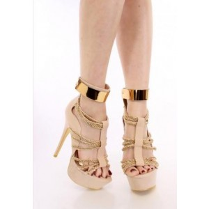 Women's Nude Open Toe Metal Chains Wrapped Platform Stiletto Heels Sandals