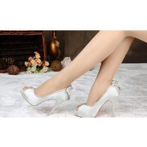 Silver Wedding Heels Rhinestone Satin Peep Toe Pumps with Bow