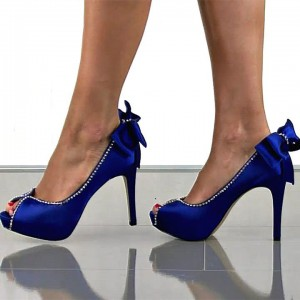 Royal Blue Wedding Heels Satin Bow Rhinestone Stiletto Heels Pumps