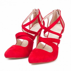 Red Suede Shoes Stiletto Heel Closed Toe Sandals for Women
