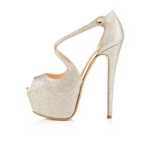 Women's Champagne Crossed-over Peep Toe Platform Sandals Glitter Shoes
