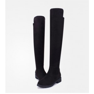 Women's Black Long Boots Round Toe Suede Knee High Boots