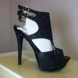 Black Glitter Shoes Buckles Stiletto Heel Platform Slingback Shoes