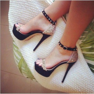 Champagne Sequined Ankle Strap Stiletto Heel Sandals
