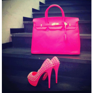 Hot Pink Platform Heels Studded Pumps High Heel Shoes
