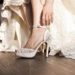 White Bridal Shoes Lace Heels Peep Toe Ankle Strap Platform Pumps