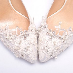 Women's White Lace Bridal Heels Rhinestone Stiletto Heel Pumps Wedding Shoes