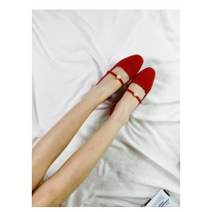 Women's Coral Red Suede Pearl Decorated Low-Heel Mary Jane Shoes Vintage Heels