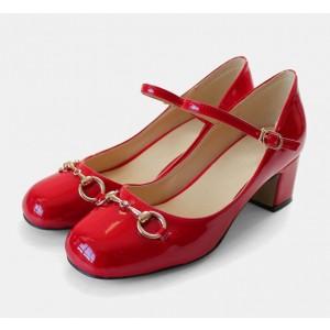 Women's Coral Red Mary Jane Pumps Chunky Heels Vintage Shoes FSJ Shoes
