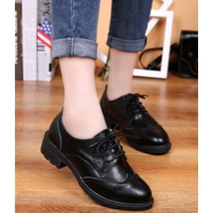 Women's Leila Black Flats Boots-Ankle  Lace-up Oxfords Vintage Shoes