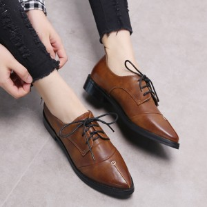 Tan Women's Oxfords Lace up Pointy Toe Flats Vintage Shoes by FSJ