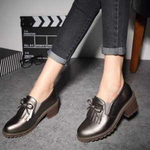 Dark Grey Vintage Slip-on Fringed Leather Brogues