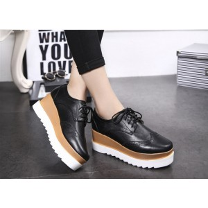 Leila Black Wedge Preppy Style Brogue Round Toe Vintage Lace-up Flat Women's Oxfords