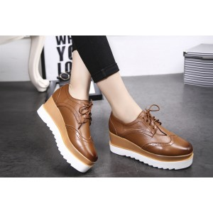 Brown Women's Oxfords Lace-up Vintage Platform Shoes