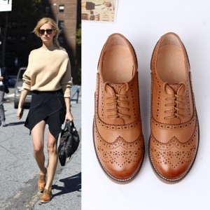 Tan Women's Oxfords Lace-up Brogues Vintage Flats