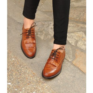 Women's Oxfords Brown Fringe Round Toe Vintage Shoes Lace-up Flats