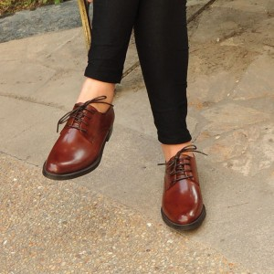 Brown Vegan Women's Oxfords Round Toe Vintage Shoes US Size 3-15