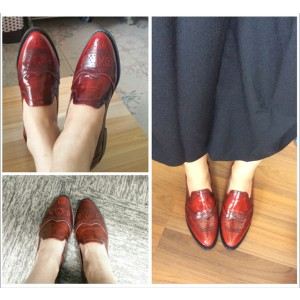 Burgundy Round Toe Vintage Slip-on Flat Women's Oxfords