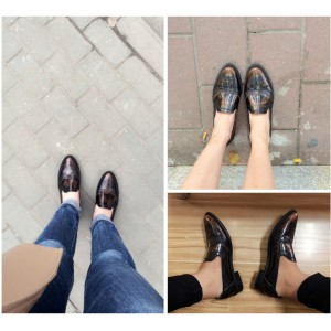 Bronze Vintage Shoes Slip-on Oxfords for Female