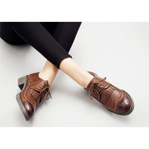 Dark Brown Fringed Round Toe Vintage Lace-up Women's Oxfords Brogues