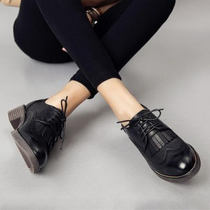 Women's Oxfords Brogues Leila Black Fringed Lace-up Vintage Shoes