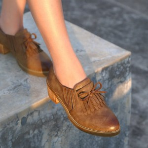 Khaki Vintage Slip-on Fringed Leather Brogues