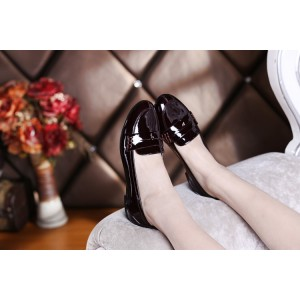 Burgundy Patent Leather Round Toe Vintage Flat Loafers for Women