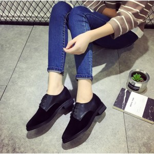 Leila Black Suede Round Toe Vintage Lace-up Flat Women's Oxfords