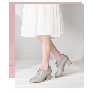 Light Grey Non-slip Round Toe Vintage Lace-up Women's Brogues