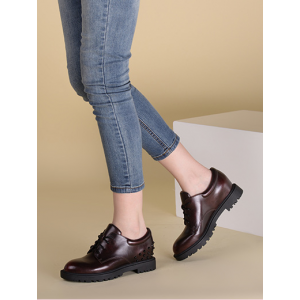 Burgundy Round Toe Vintage Lace-up Tread Sole Rivets Decorated Women's Oxfords