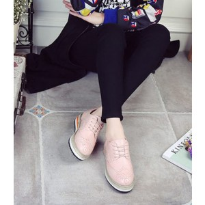 Pink Round Toe Vintage Lace-up Flat Women's Oxfords