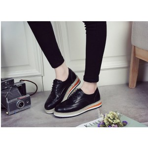 Women's Oxfords Leila Black Round Toe Vintage Shoes Lace-up Flat
