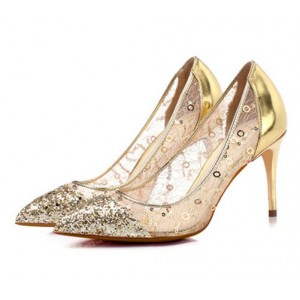 Women's Golden Pointed Toe Stiletto Heel Lace Bridal Shoes