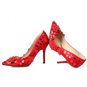 Red Floral Heels Pointy Toe Evening Shoes Stiletto Heel Pumps