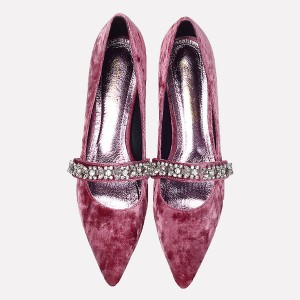 Plum Velvet Heels Vintage Mary Jane Pumps with Rhinestones